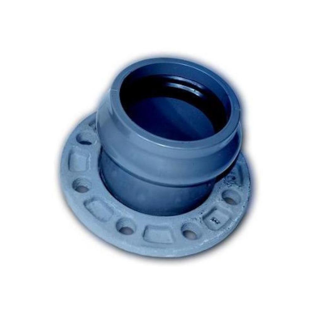 RU-ХК ПВХ Патрубок раструбный напорный с кольцом (мет.фланец)